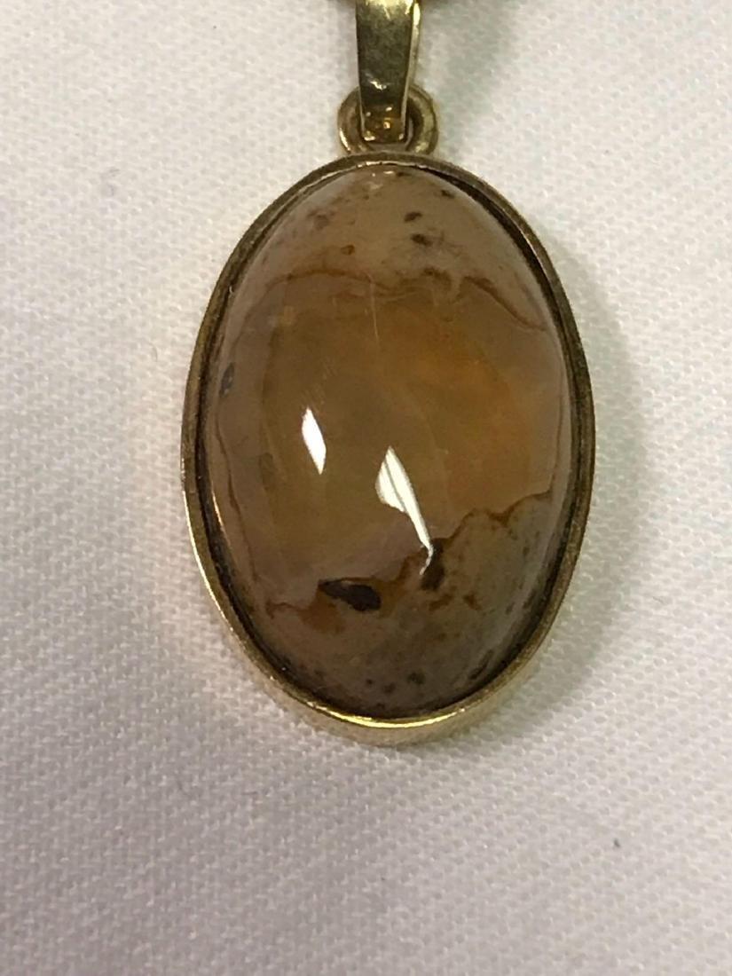 14k Gold Necklace With Quartz Pendant - 4