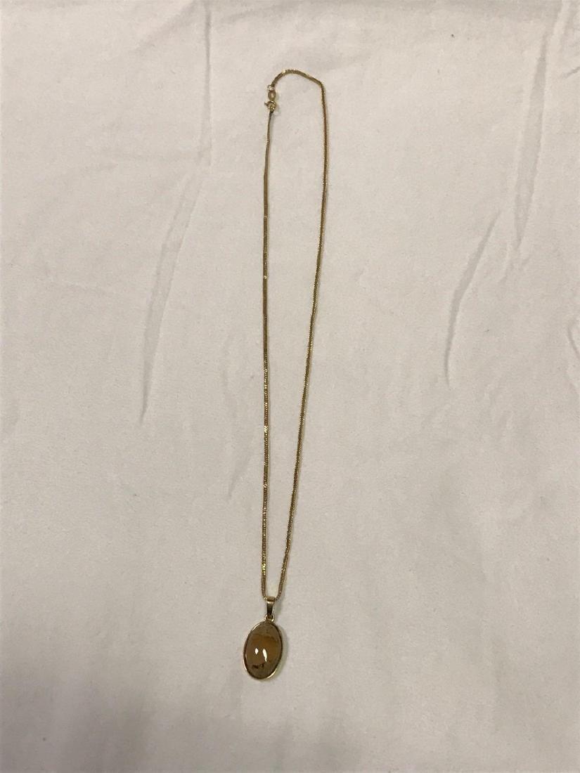 14k Gold Necklace With Quartz Pendant - 6