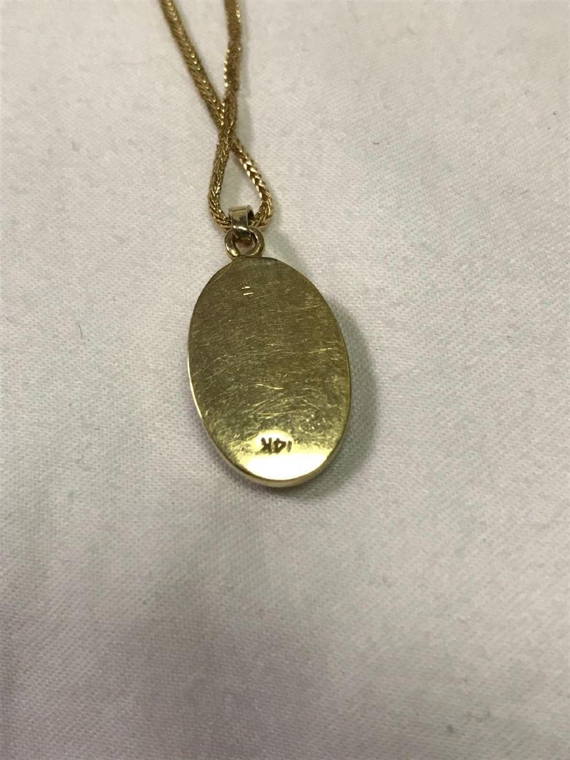 14k Gold Necklace With Quartz Pendant - 7