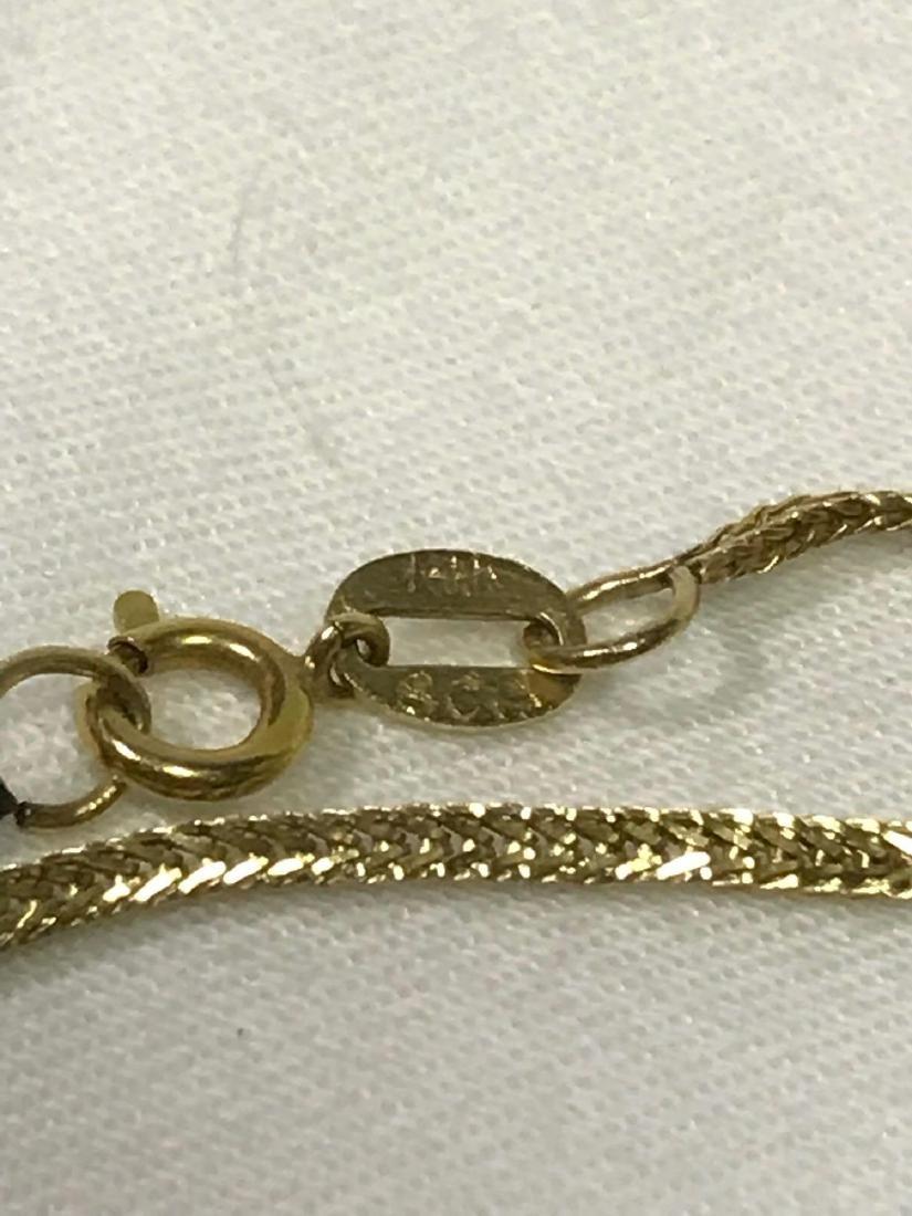 14k Gold Necklace With Quartz Pendant - 8