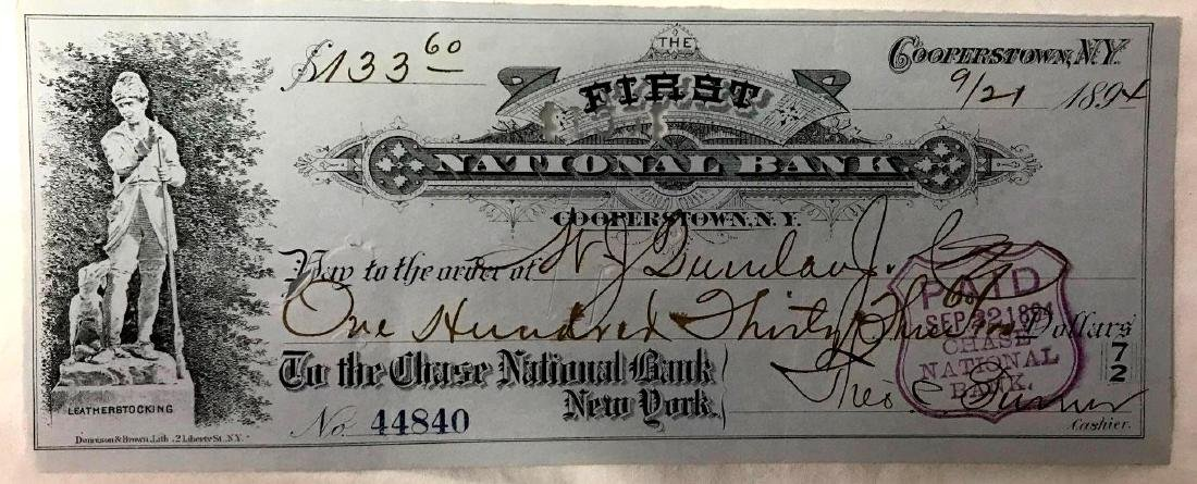 1894 Cooperstown New York Bank Check