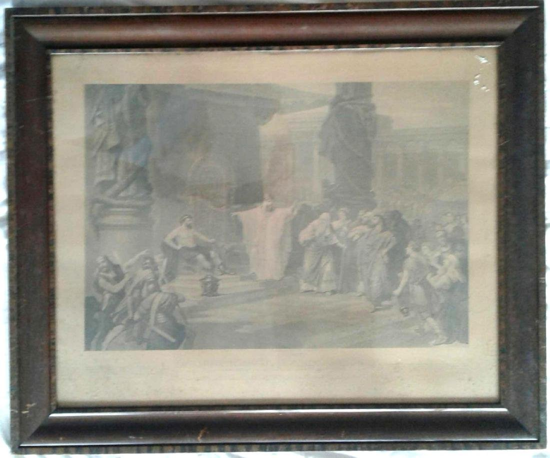 Antique Iron Worker Print, Original Flame Oak Frame