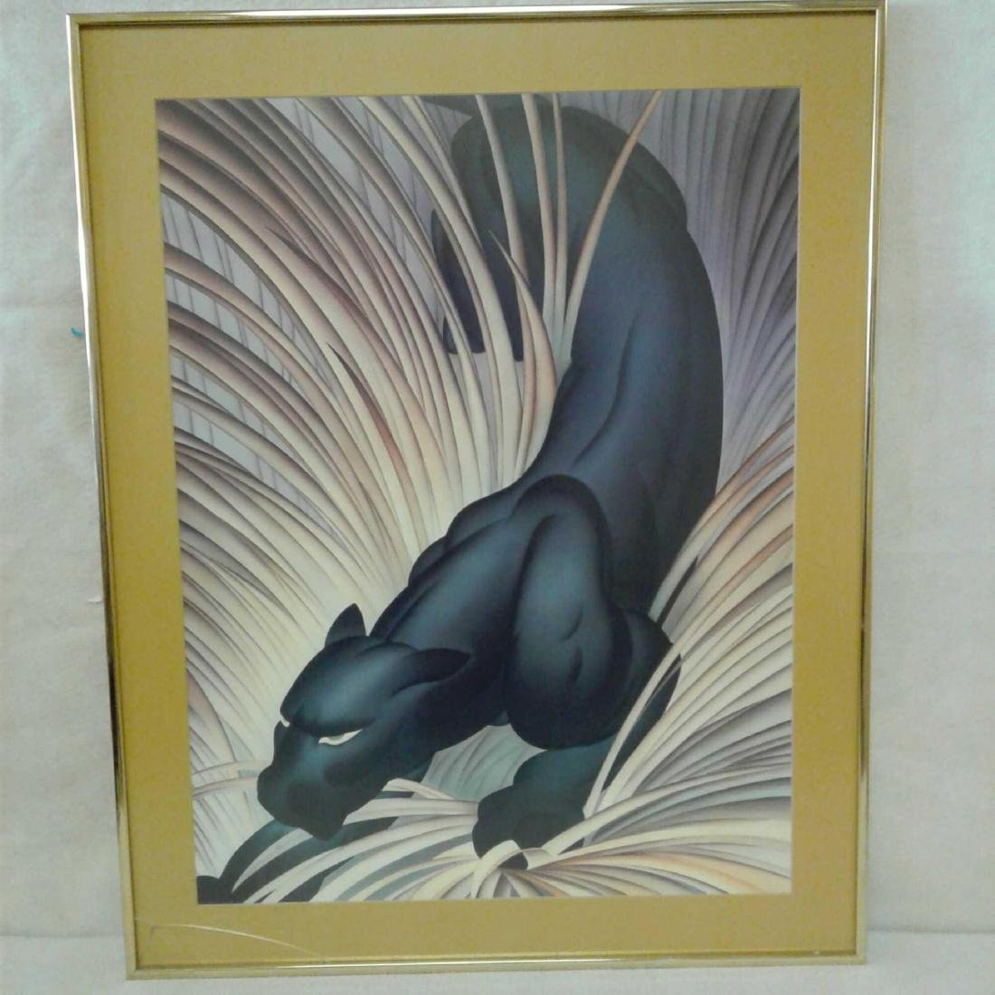 Black Panther Print in Gold Frame