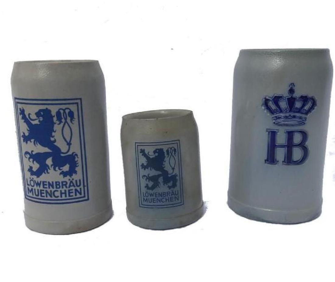 3 Lowenbrau Hofbra Stoneware Beer Mugs