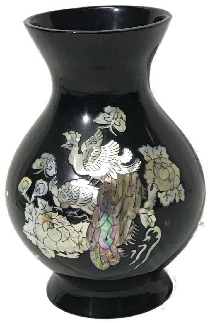 Vintage Black Laquer Vase With Mother of Pearl Inlay.