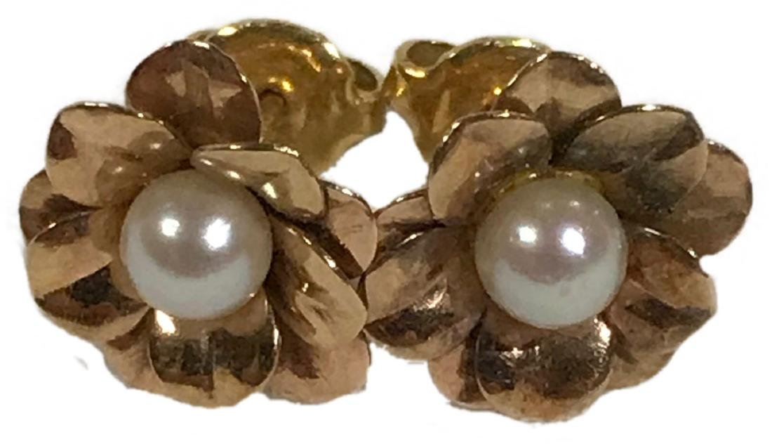 Vintage Gold Colored Pearl Earrings