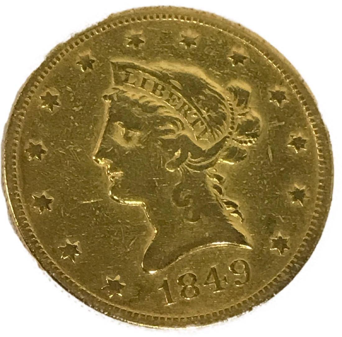 1849 Ten Dollar Gold Coin Liberty Head Eagle