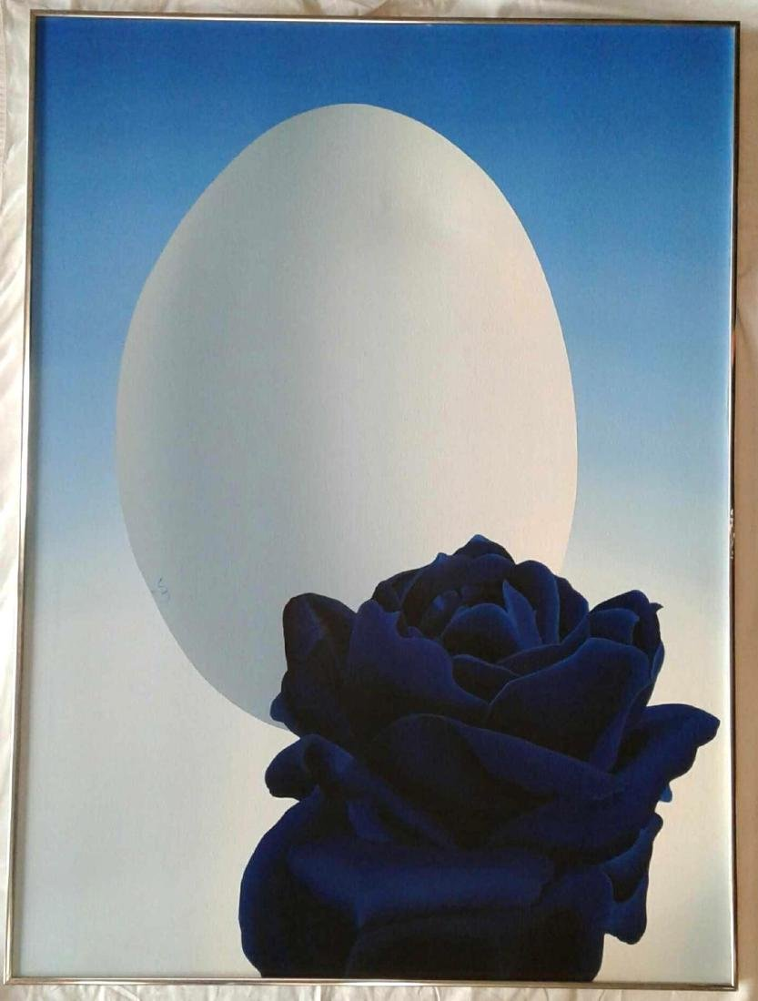 Blue Rose and Egg Painting