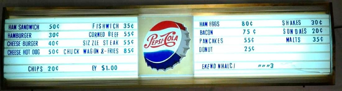 Vintage Pepsi Back Lit Menu Sign