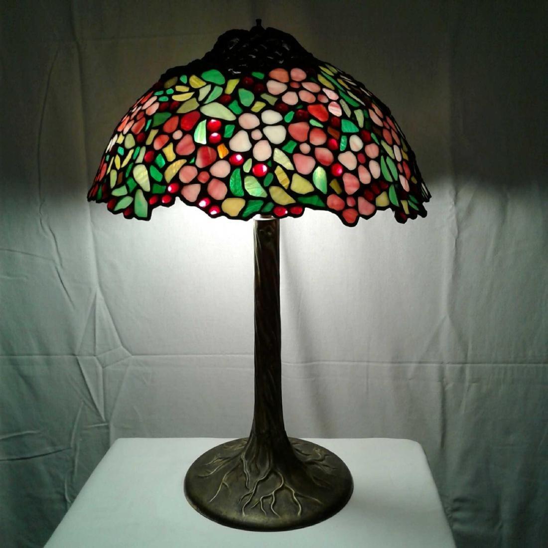Vintage Brass and Slag Glass Cherry Tree Lamp
