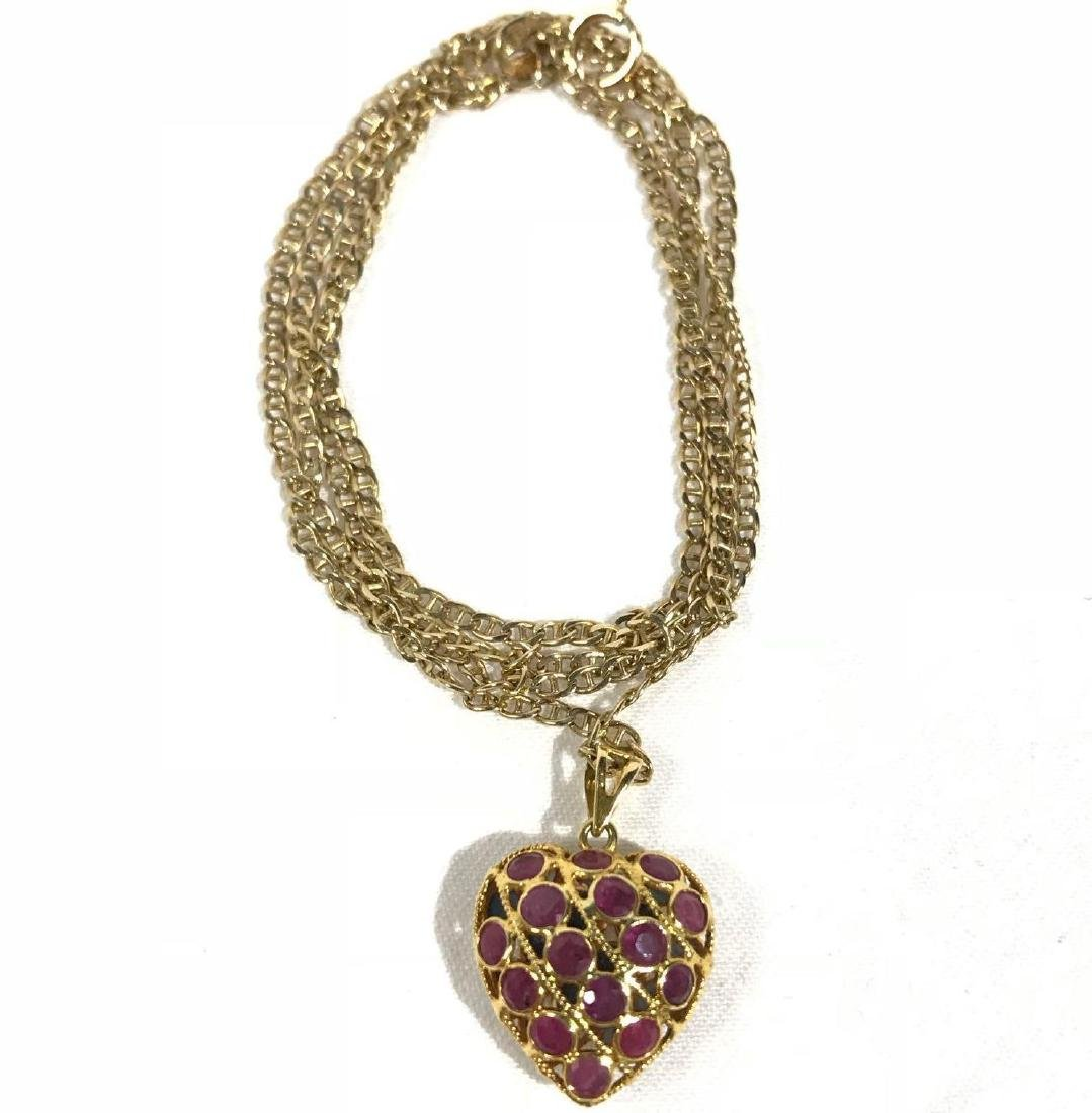 Vintage Gold Necklace with Jeweled Heart Pendant