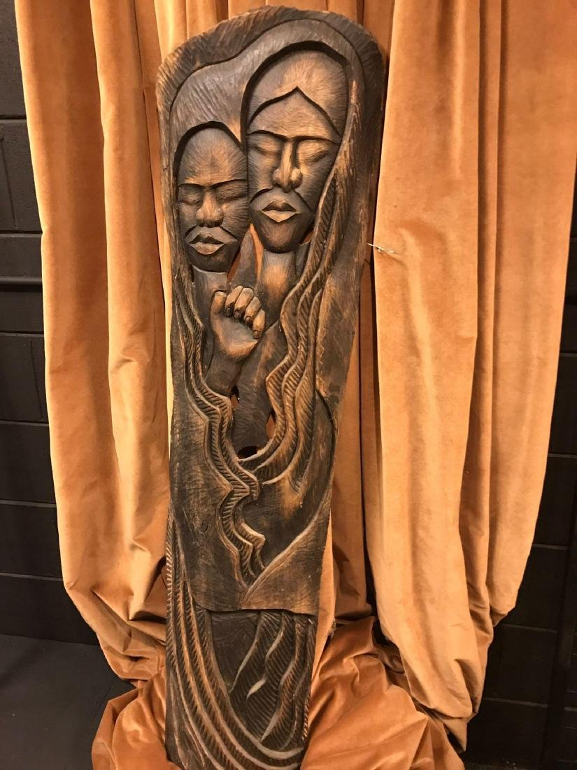Signed Carved Wood Panel