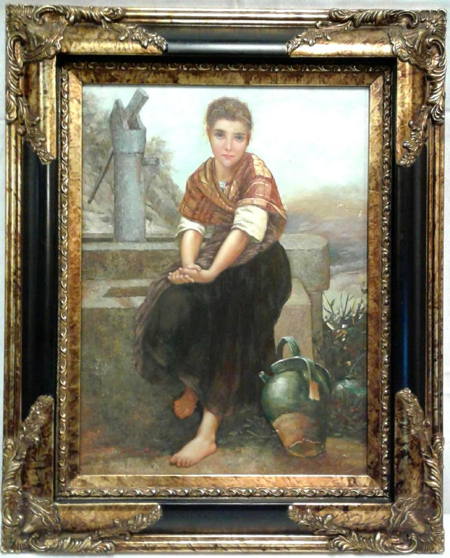 Framed Original Oil Painting Peasant Girl