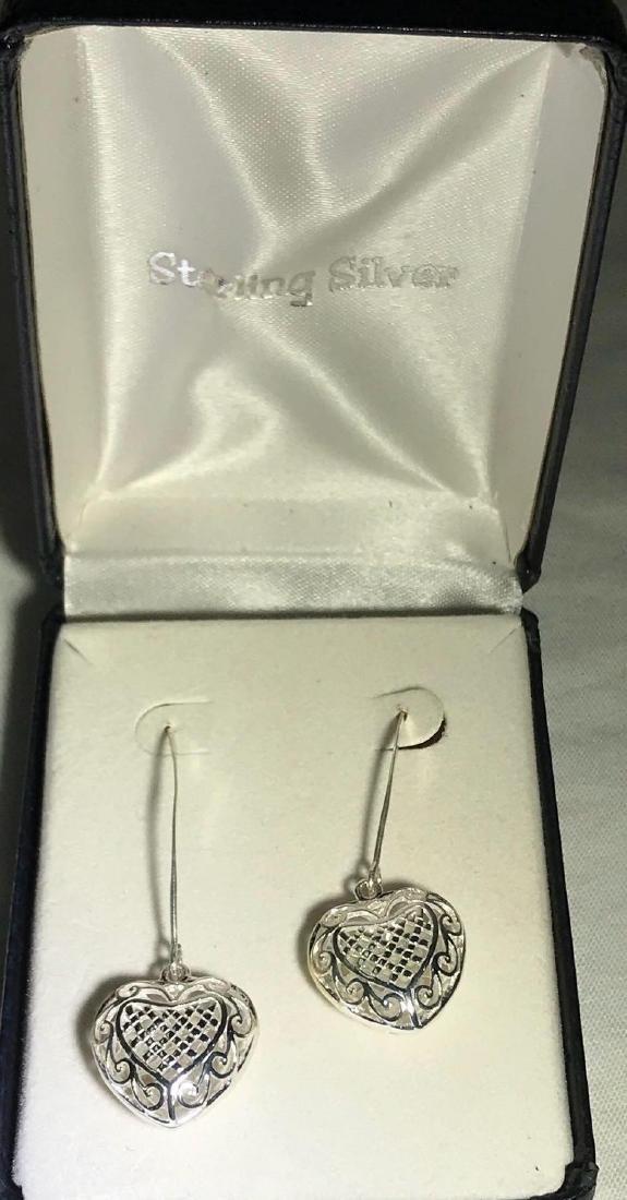 3D Sterling Silver Heart Earrings
