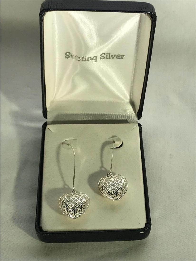 3D Sterling Silver Heart Earrings - 2