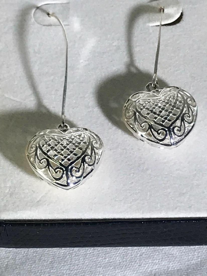 3D Sterling Silver Heart Earrings - 3