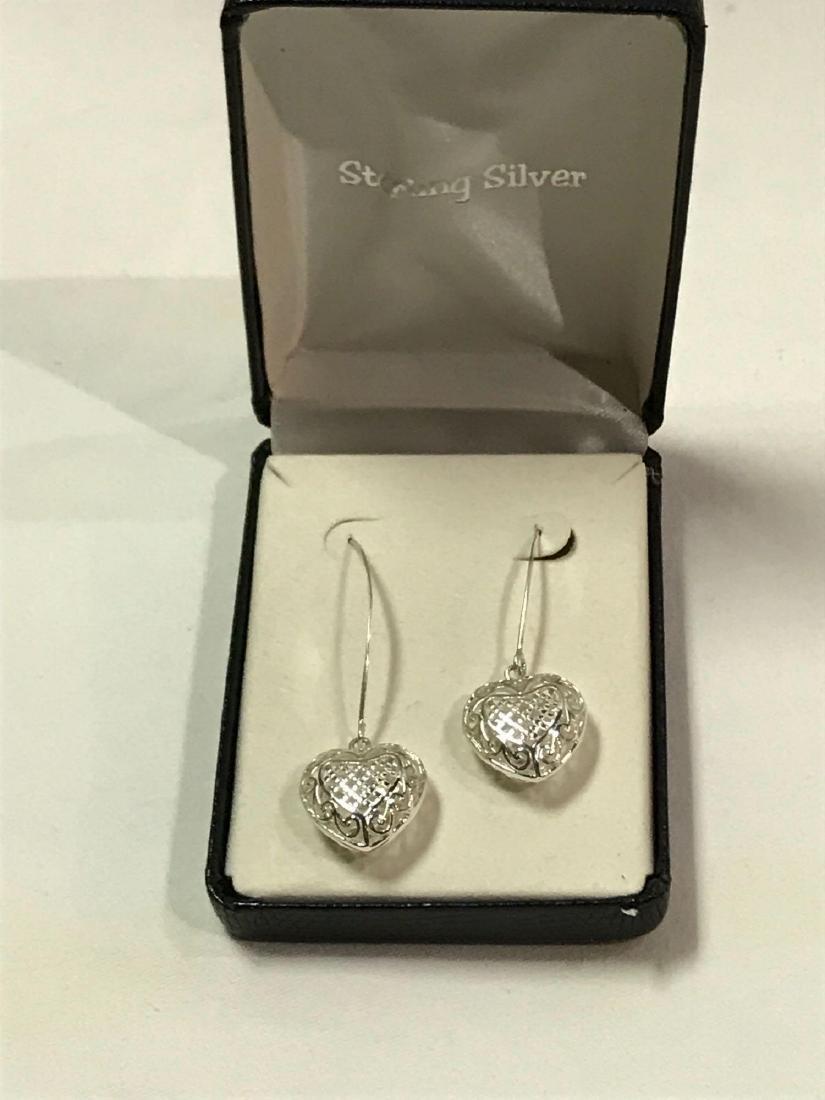 3D Sterling Silver Heart Earrings - 4