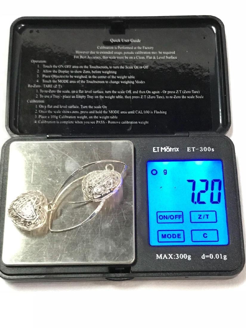 3D Sterling Silver Heart Earrings - 5