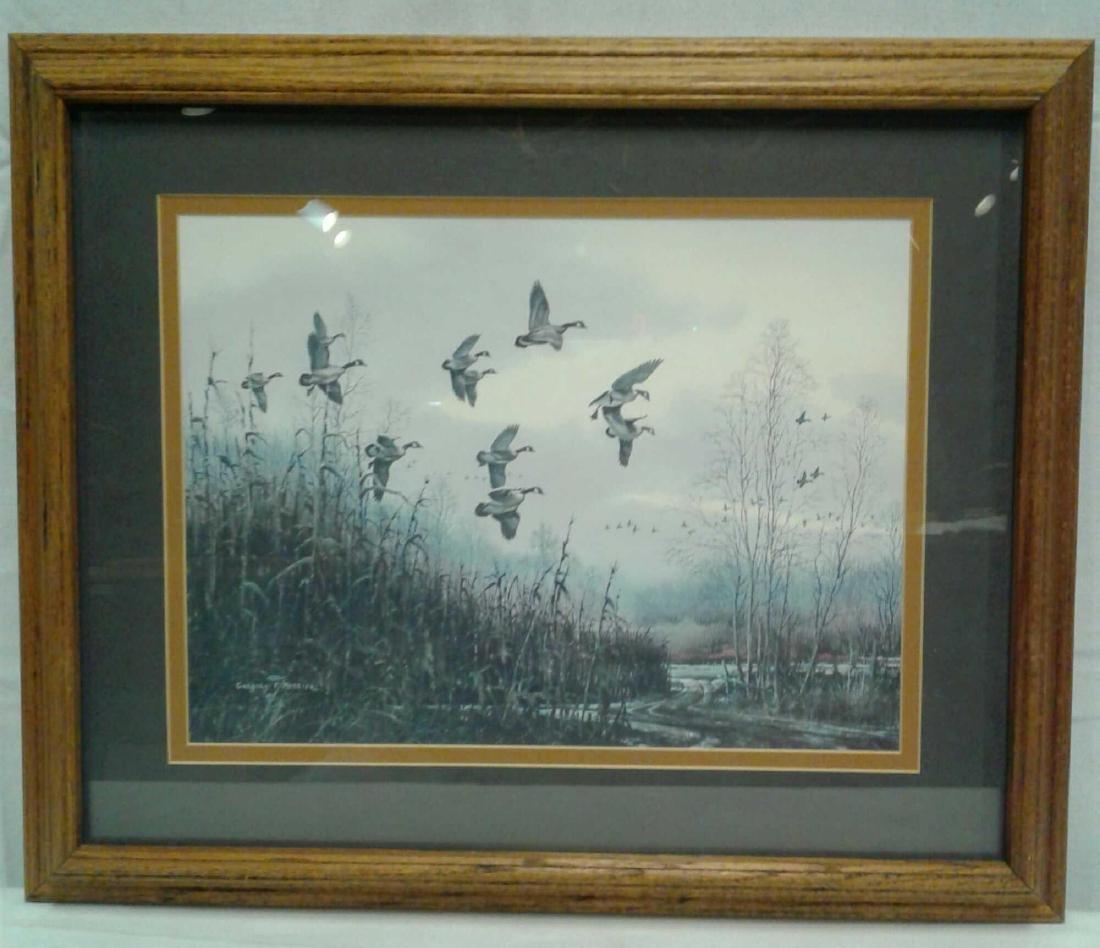 Gregory F Messier Print, Blue Wing Ducks in Flight