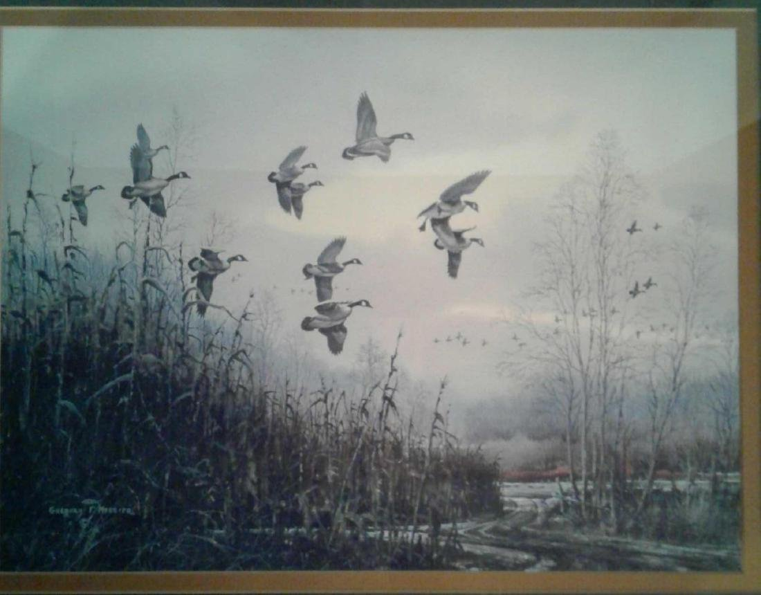 Gregory F Messier Print, Blue Wing Ducks in Flight - 9