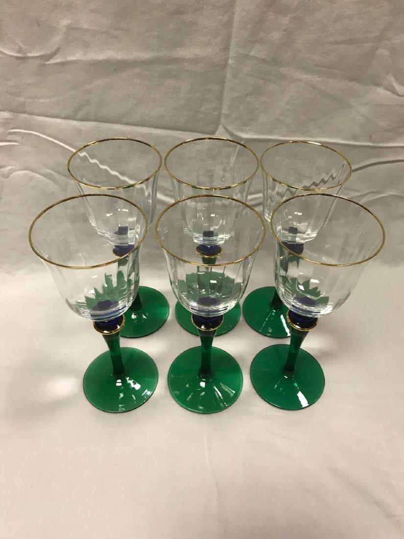 6 Vintage Wine Glasses Green Blue Stemware - 10