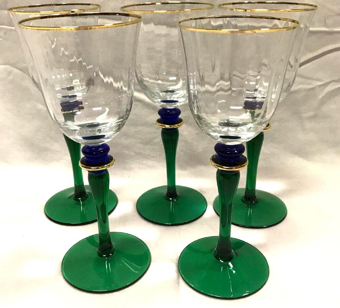 6 Vintage Wine Glasses Green Blue Stemware