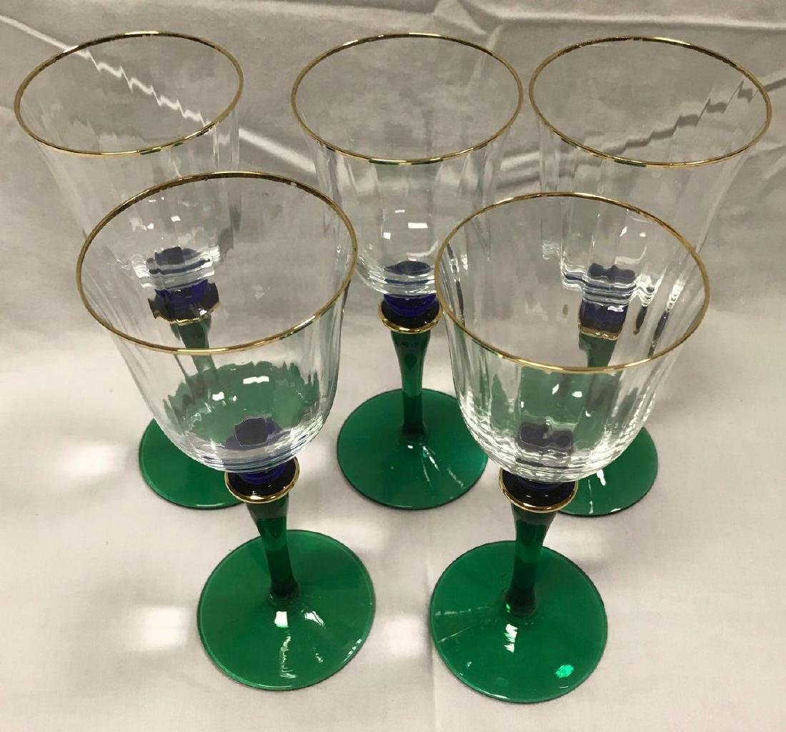 6 Vintage Wine Glasses Green Blue Stemware - 2