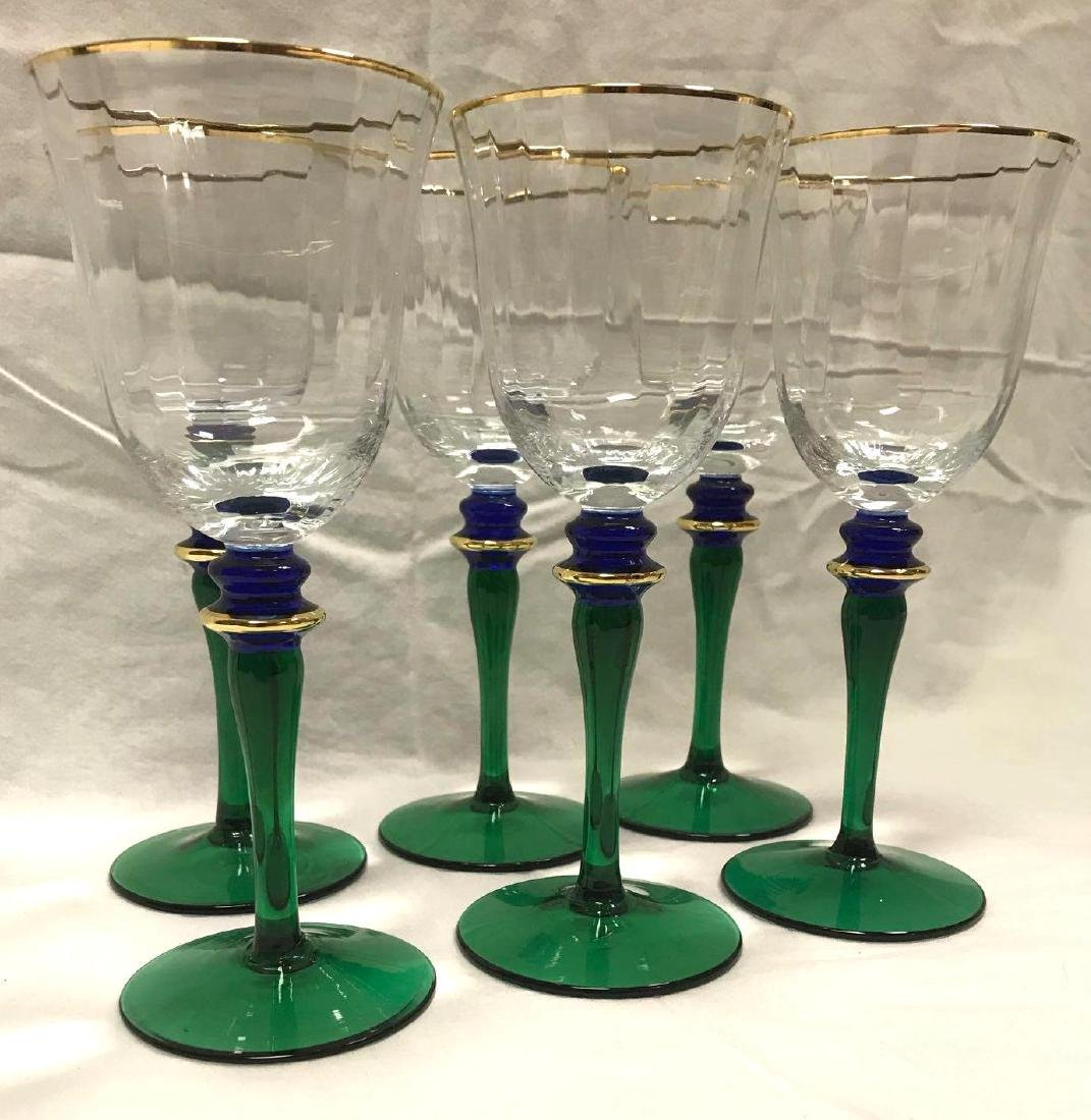 6 Vintage Wine Glasses Green Blue Stemware - 8