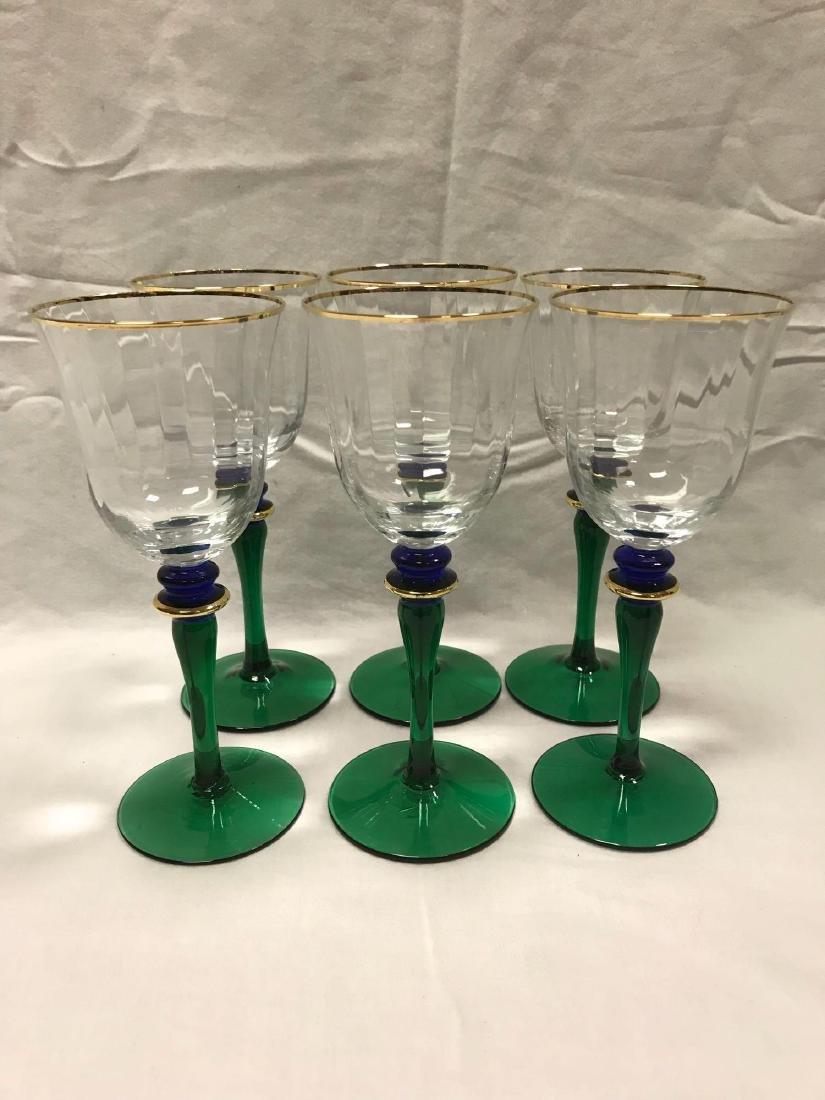6 Vintage Wine Glasses Green Blue Stemware - 9