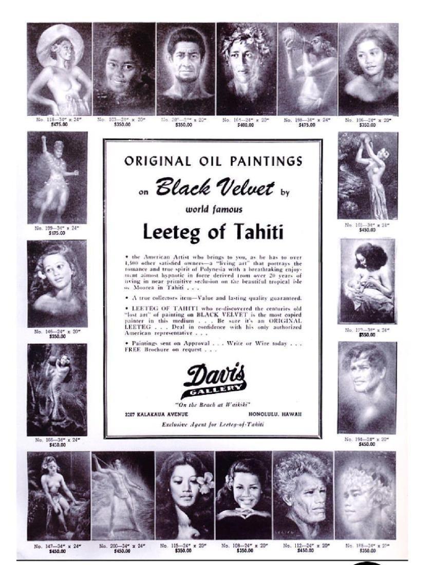 Original 1940's Leeteg of Haiti Velvet Painting - 10