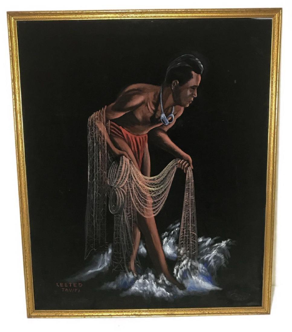 Original 1940's Leeteg of Haiti Velvet Painting