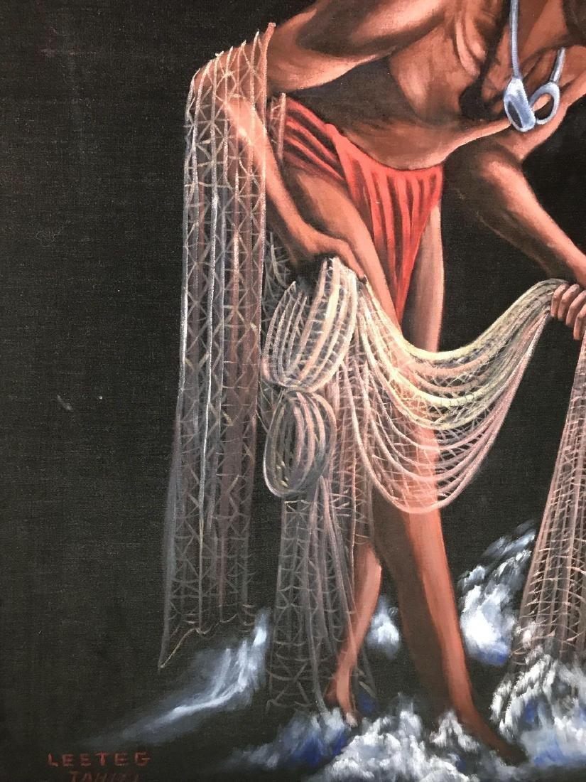 Original 1940's Leeteg of Haiti Velvet Painting - 3