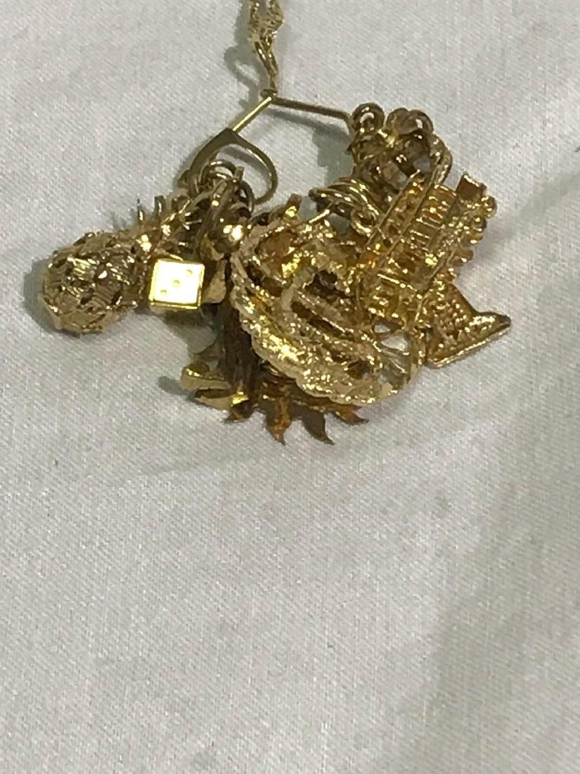 Vintage 14k Necklace with Souvenir Charms - 2