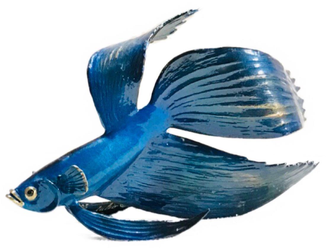 Blue Bronze Fish Sculpture Julio Sanchez De Alba