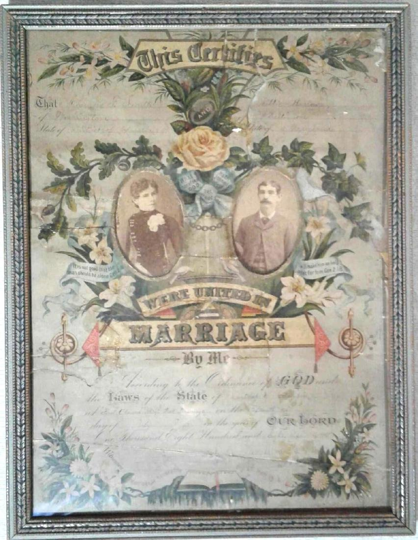 Marriage License Antique Frame