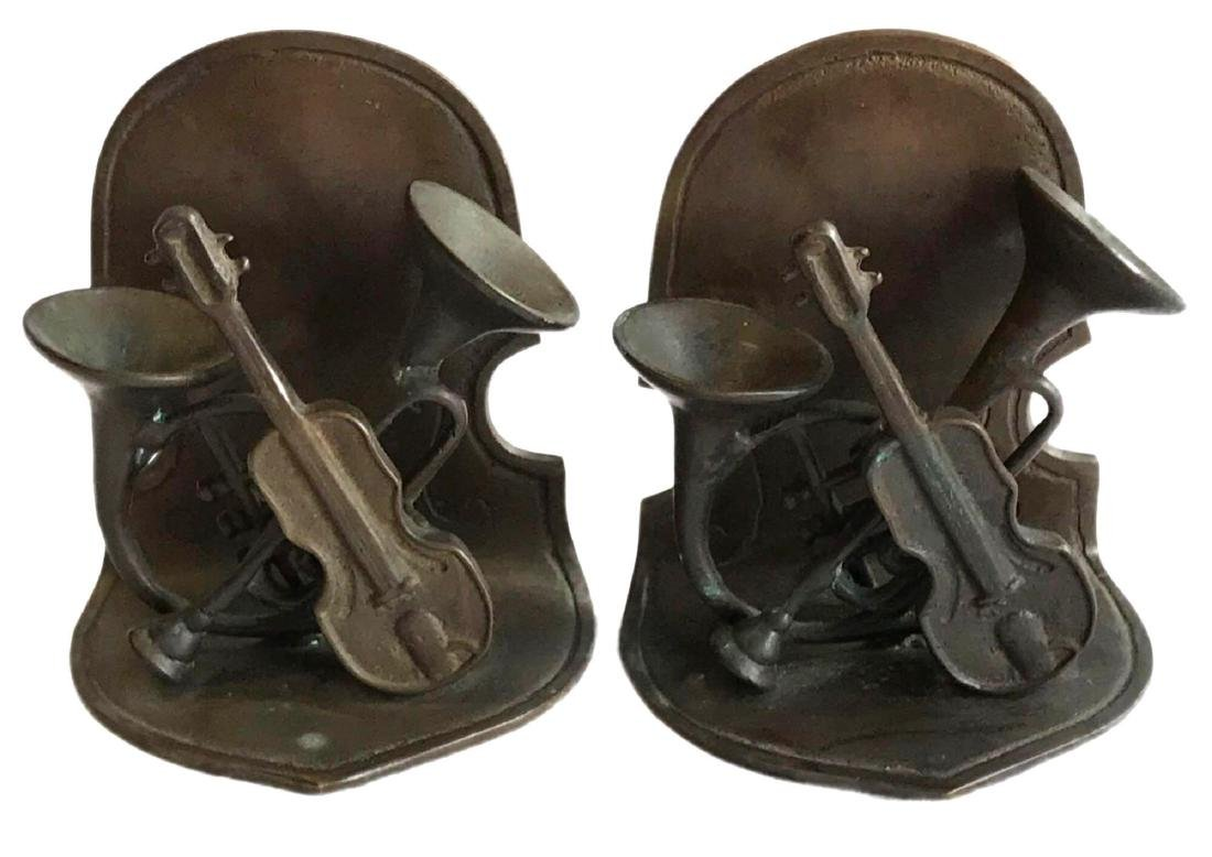 Pair of Bronze Bookends Musical Instruments