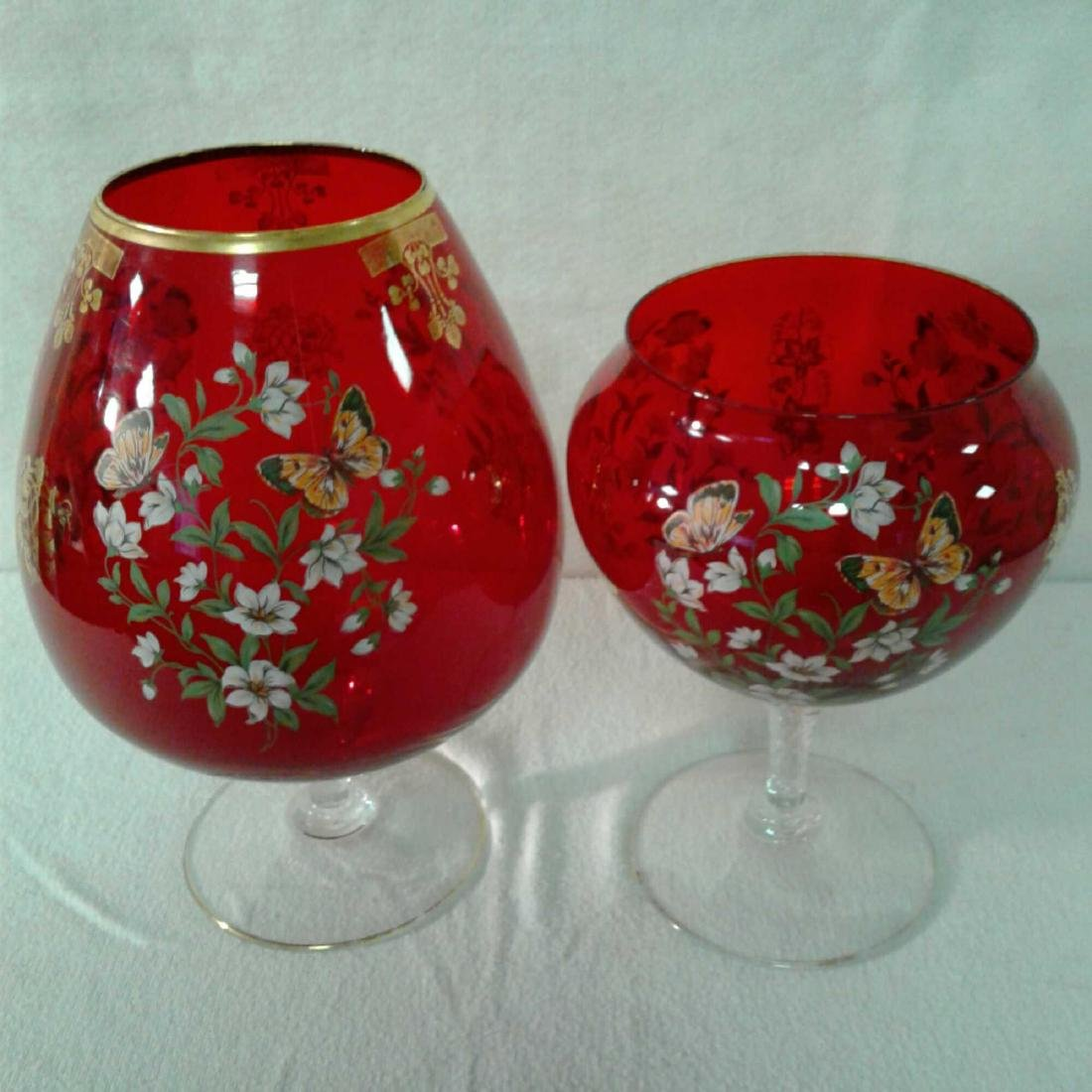 2 Large Red Wine Glass Shaped Vases