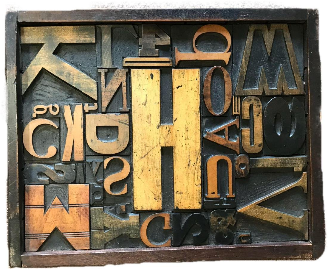 Mid-Century LetterPress Block Wall Sculpture