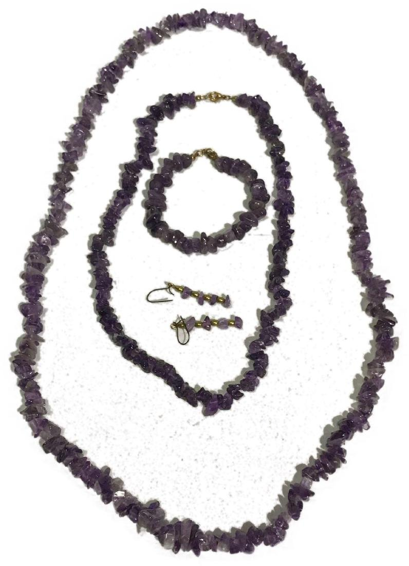 Amethyst Necklace, Bracelet and Earrings Lot