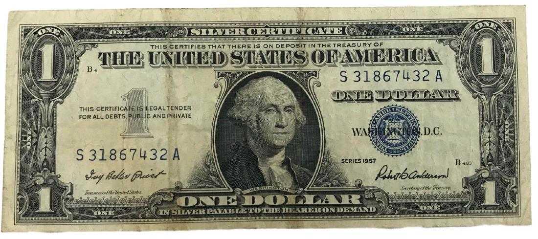 1957 One Dollar Bill Us Silver Certificate