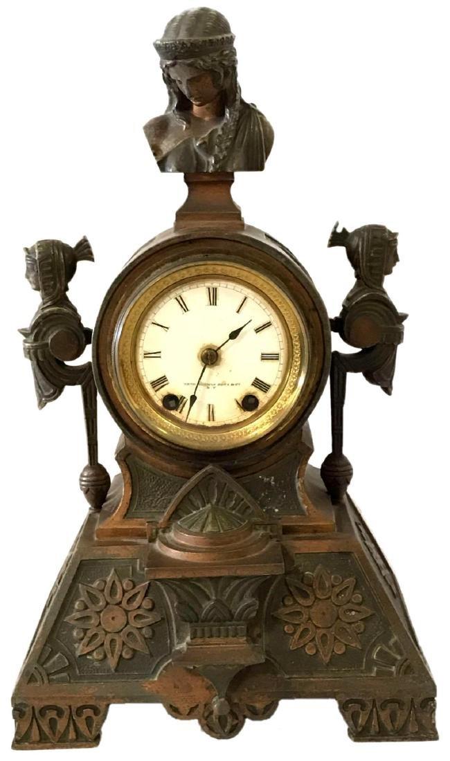 Seth Thomas Sons Bronze Egyptian Mantle Clock