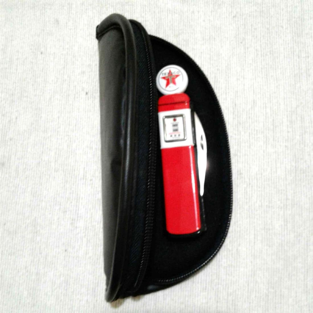 Texaco Gas Pump Franklin Mint Knife with Pouch