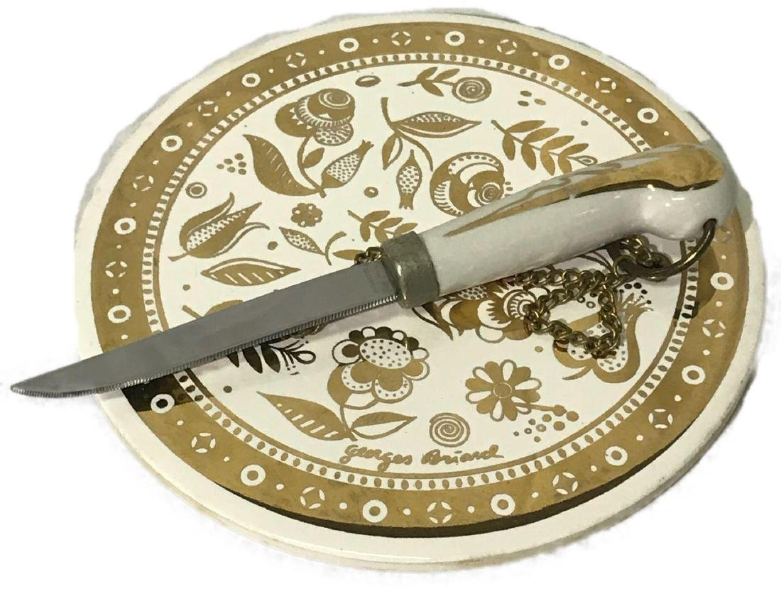 Georges Briard Ceramic Cheese Plate With Knife