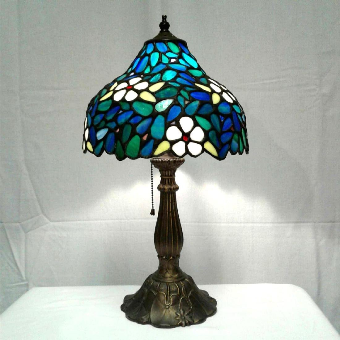 Vintage Stained Glass Brass Table Lamp