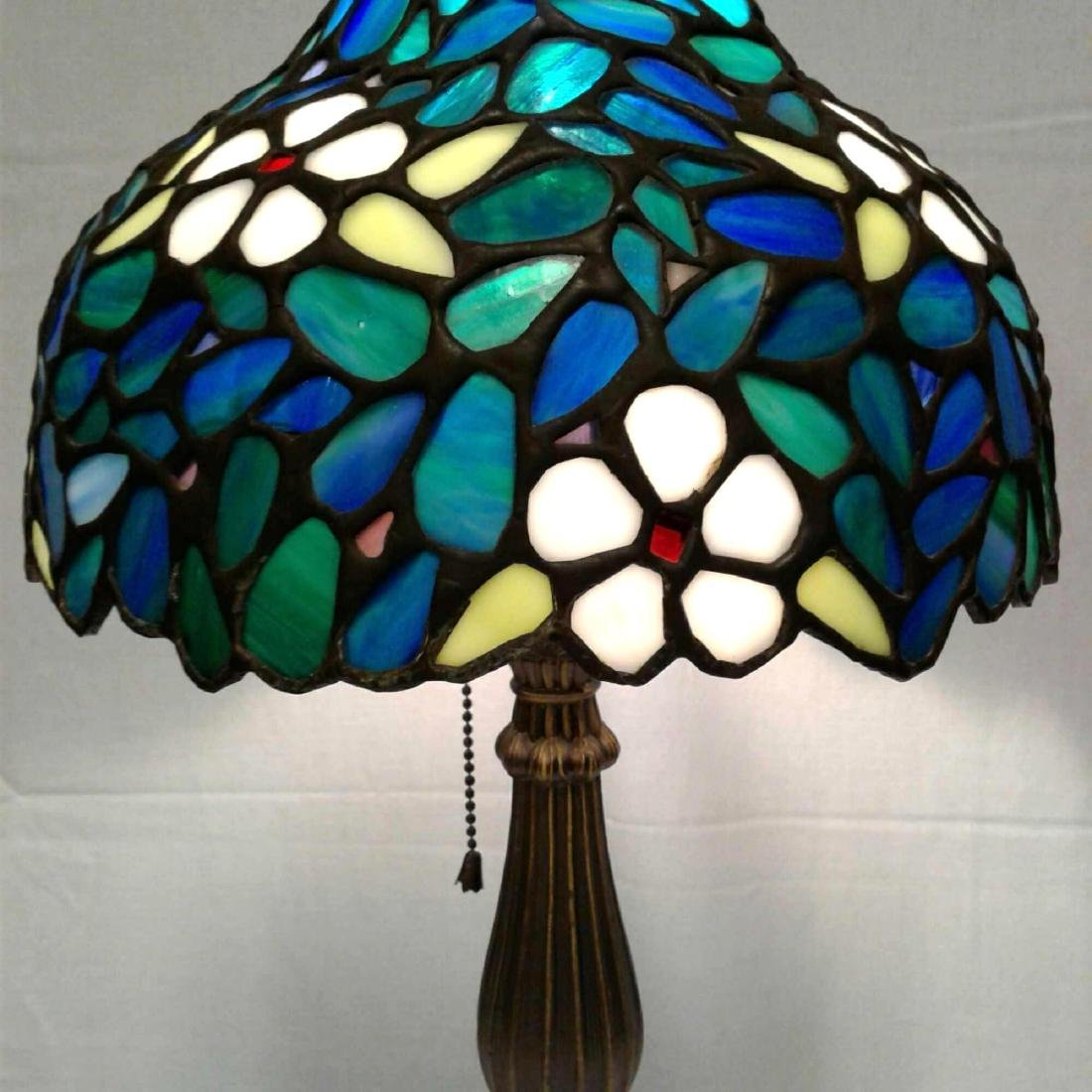 Vintage Stained Glass Brass Table Lamp - 3