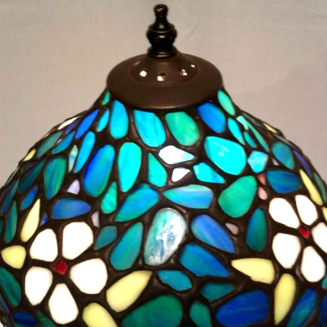 Vintage Stained Glass Brass Table Lamp - 4