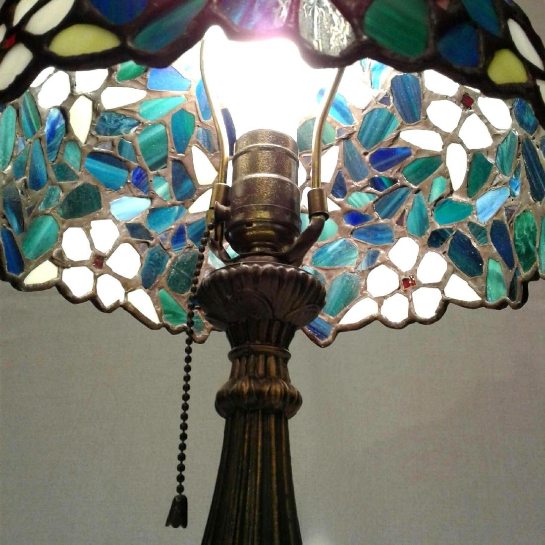 Vintage Stained Glass Brass Table Lamp - 5