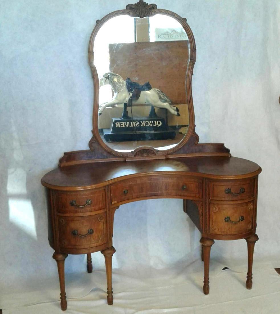 Antique Victorian Walnut Vanity Dresser