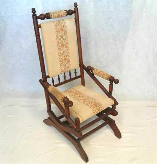 Antique Rocking Chair 1950-30's. See Sold Price - Antique Rocking Chair 1950-30's