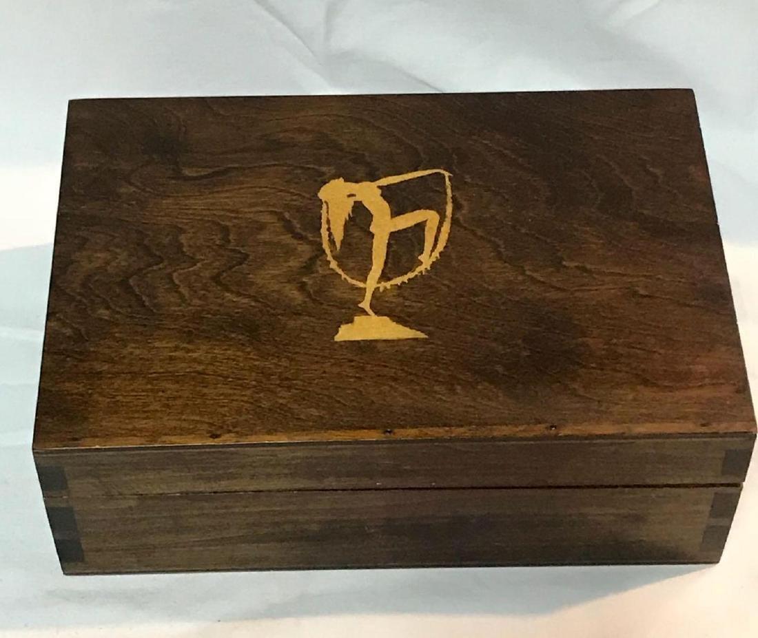 Art Deco Temple Dancer Wood Trinket Box